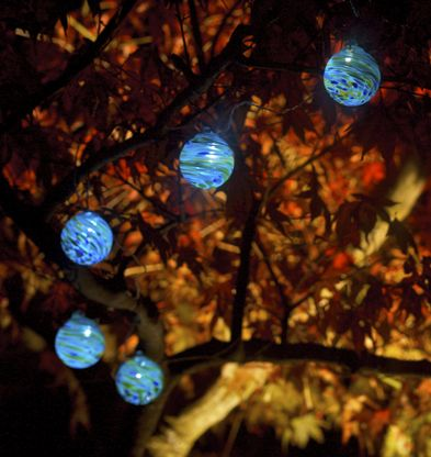 Set of 6 glass solar string lights the clear coated wire measures 35ft in length