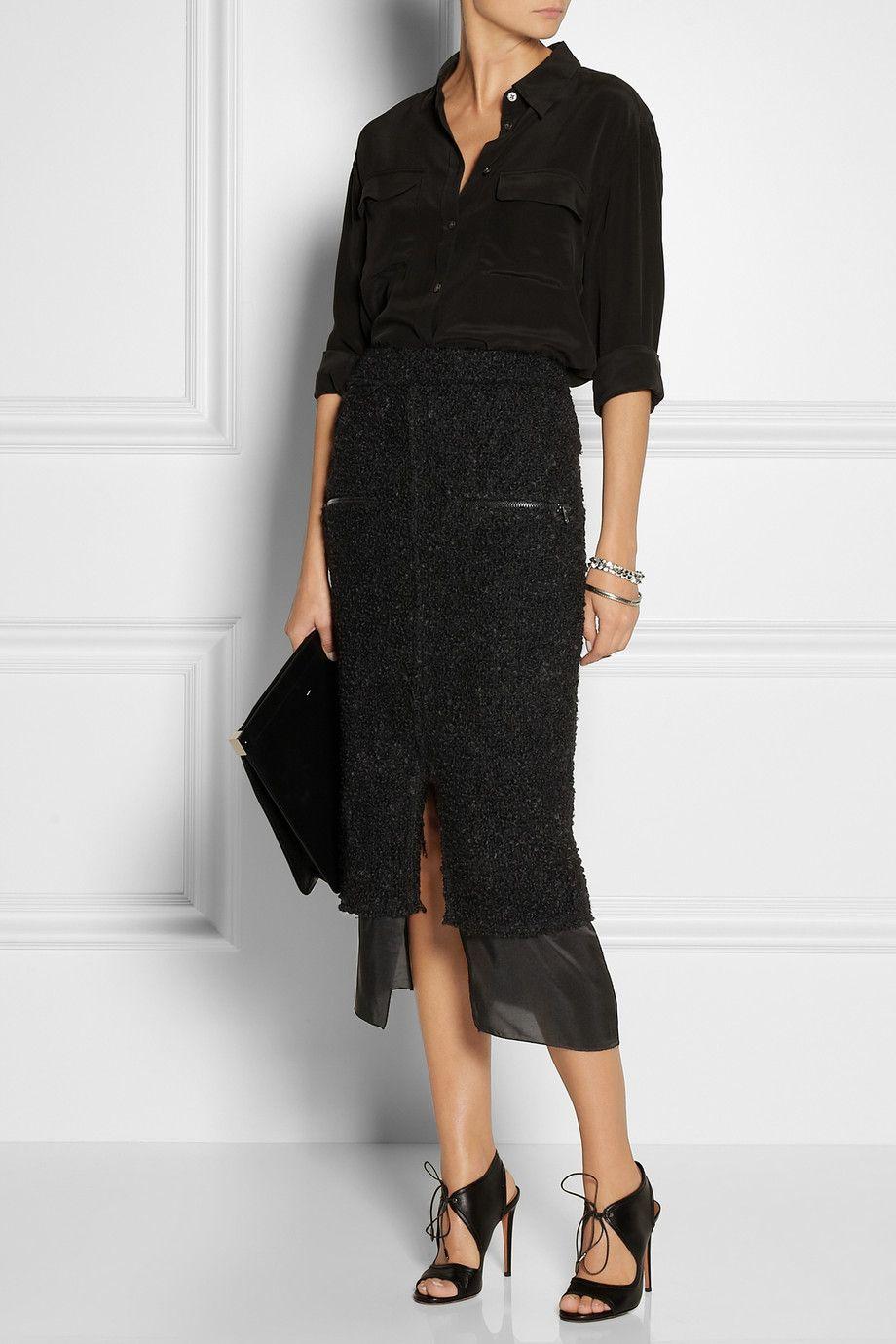 Form bouclé wool-blend skirt, ACNE