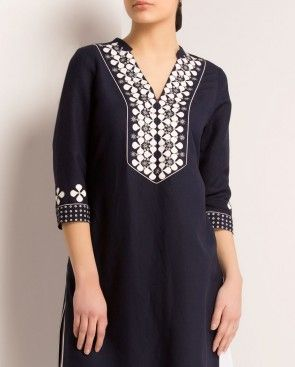 Navy Blue Tunic with Leather Applique