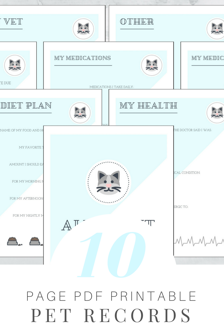 Printable Cat Record Set Blue Pet health, Daily diet
