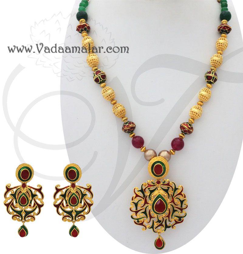 Handmade enamel design pendant chain matching earring set saree handmade enamel design pendant chain matching earring set saree buy online aloadofball Image collections
