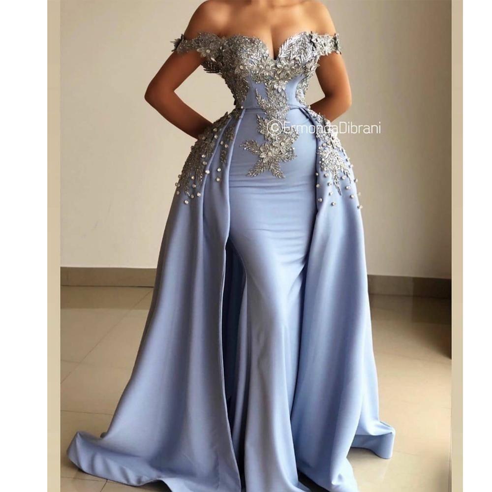 Vintage Prom Dresses 2020 Light Blue Beaded Applique Detachable Skirt 2021 Prom Gown Casemento Bride Reception Dresses Prom Girl Dresses Mermaid Evening Dresses [ 1000 x 1000 Pixel ]