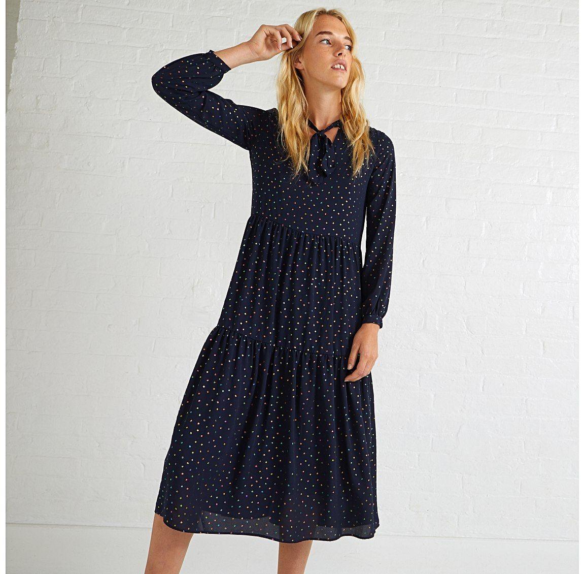 03d664fd0f Luster Foil Spot Midi Dress Spirit Clothing, Oliver Bonas, Fitted Skirt,  Polka Dot
