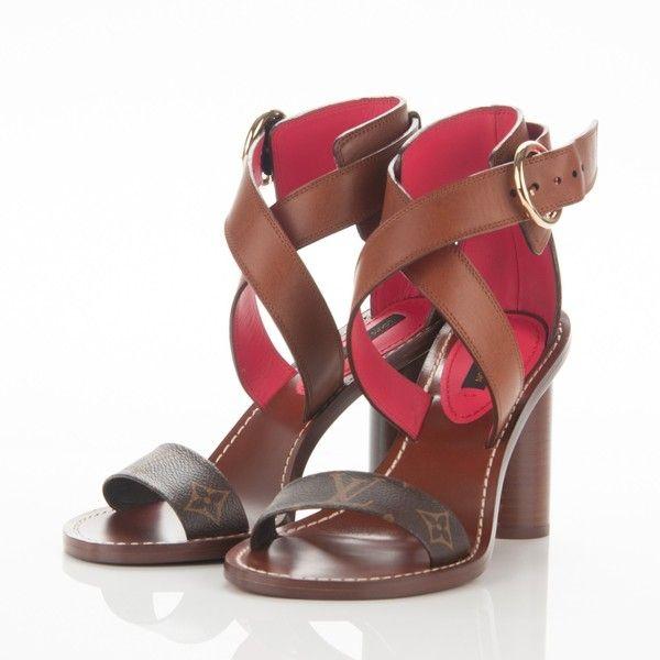 34e8d6e336e1 LOUIS VUITTON Calfskin Monogram Ocean Drive Heeled Sandals 37 Cognac ❤  liked on Polyvore featuring shoes