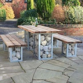Photo of gabbioni come decorazione nella panca da giardino tavolo da pranzo mobili da terrazza doghe in legno