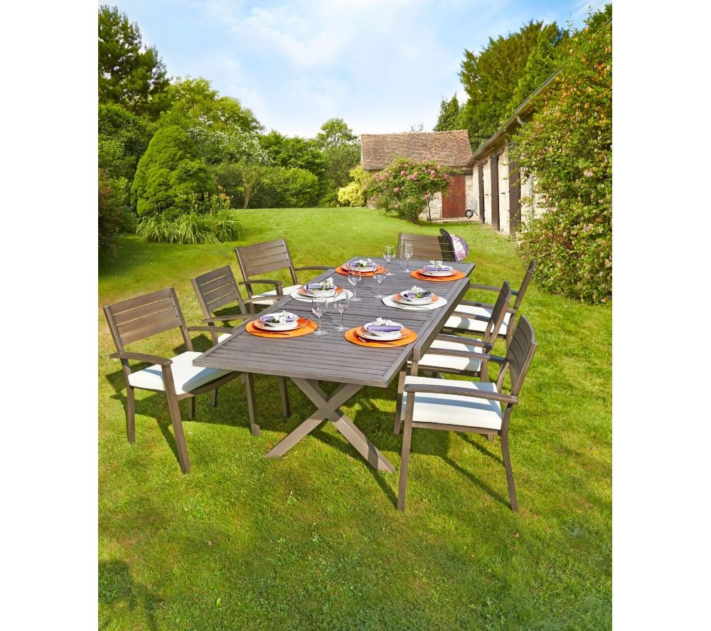 carrefour table de jardin extensible honfleur prix promo. Black Bedroom Furniture Sets. Home Design Ideas