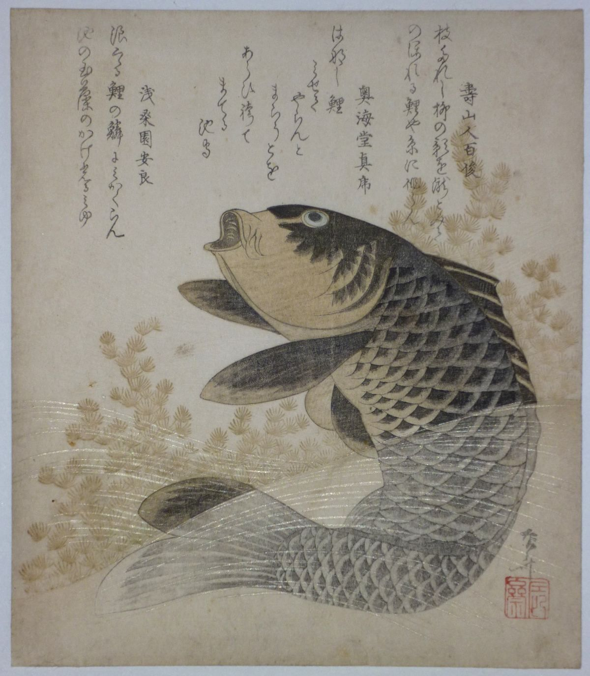 A Rare Surimono Showing A Carp And Water Weeds The Carp Was A