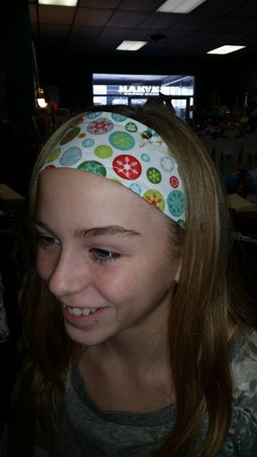 Come checkout our great hand crafted reversible head bands, available at Get Pinned, 210 North Main in Mitchell.
