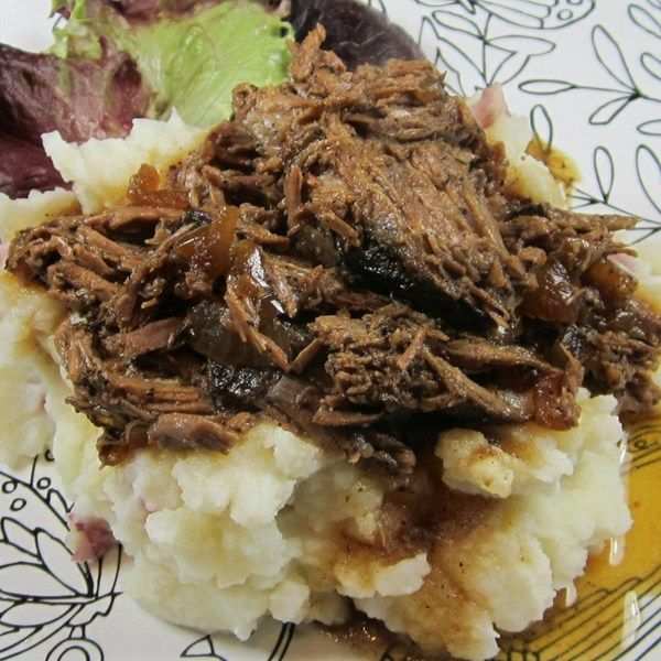 """Pot Roast with Balsamic Onions   """"Absolutely delish! I wasn't too sure about this recipe at first with only balsamic & onion, but boy am I glad I gave it a try!! It's simple and so delicious! I also added a couple of sprigs of fresh Rosemary to the pot and then baby carrots at the last 30 minutes and they came out perfect! Serve with homemade mashed potatoes and you have an awesome dinner! """""""