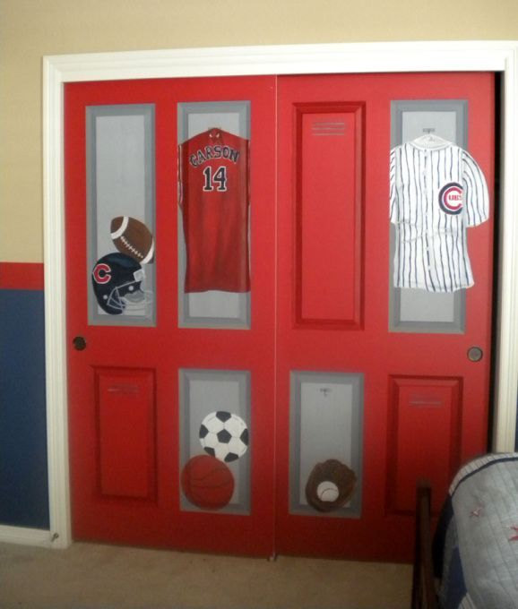 Closet Of Lockers This Sports Room Was Created For A Very Athletic Boy Whos Father Loves Chicago I Painted Typical Doors To Look Like Red
