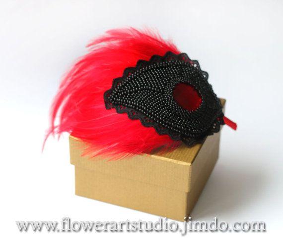 Red Fascinator Vintage Style Red Headpiece Red by Flowerartstudio