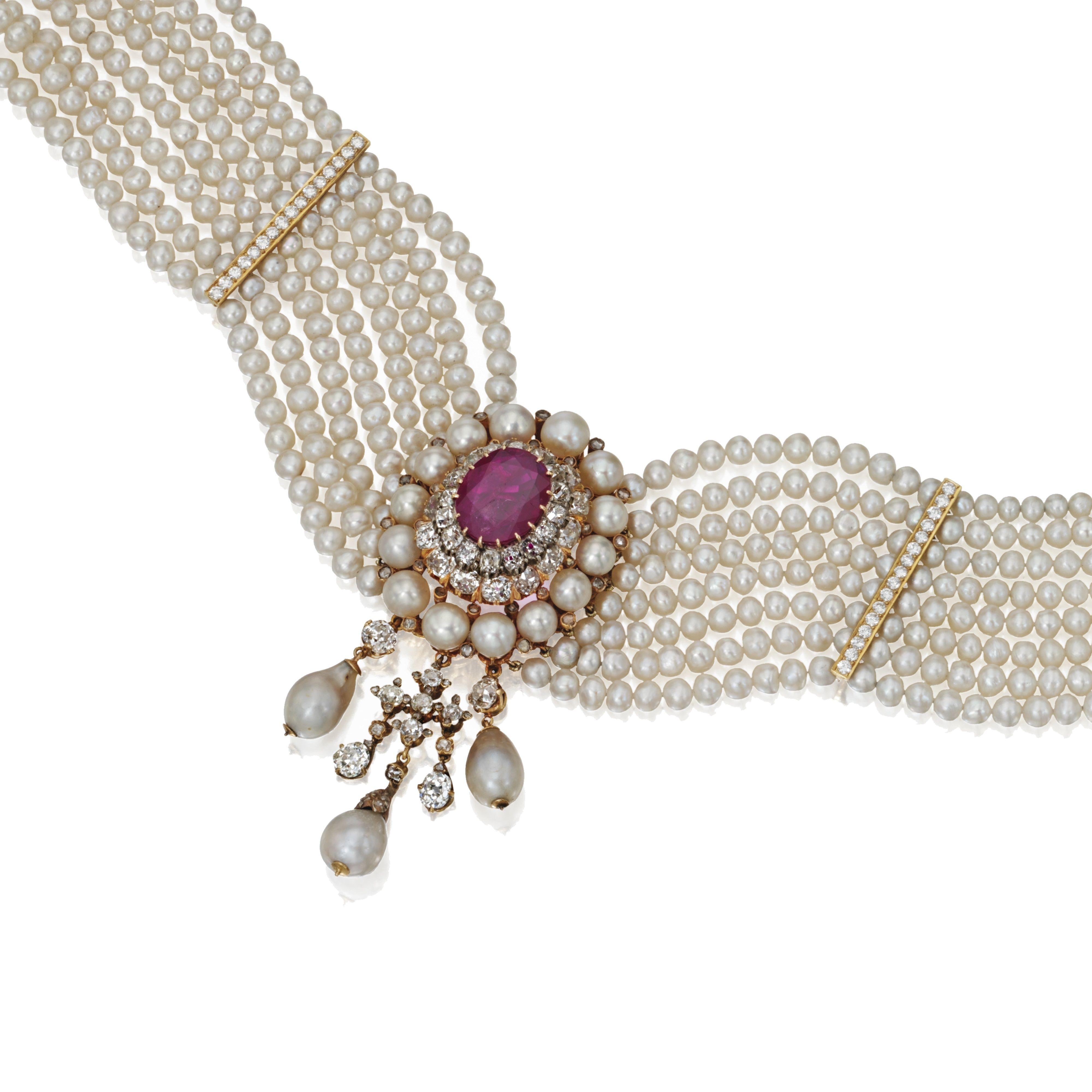 Gold, Natural Pearl, Diamond & Ruby Choker Necklace Set At The Center With