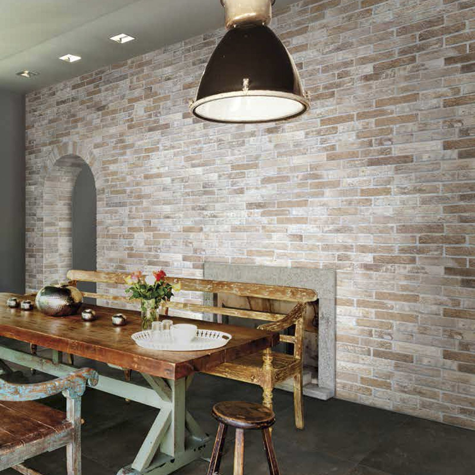 Rustic Country Vibes Dining Area With Brick Generation By Ceramica Rondine Kitchen Wall Tiles Dining Room Design Home Decor