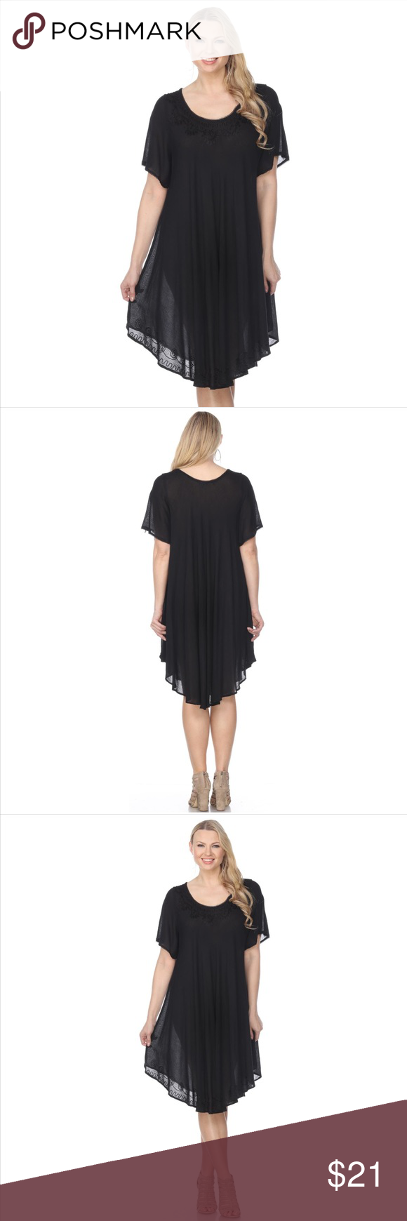 Embroidered half sleeve umbrella dress black boutique in my