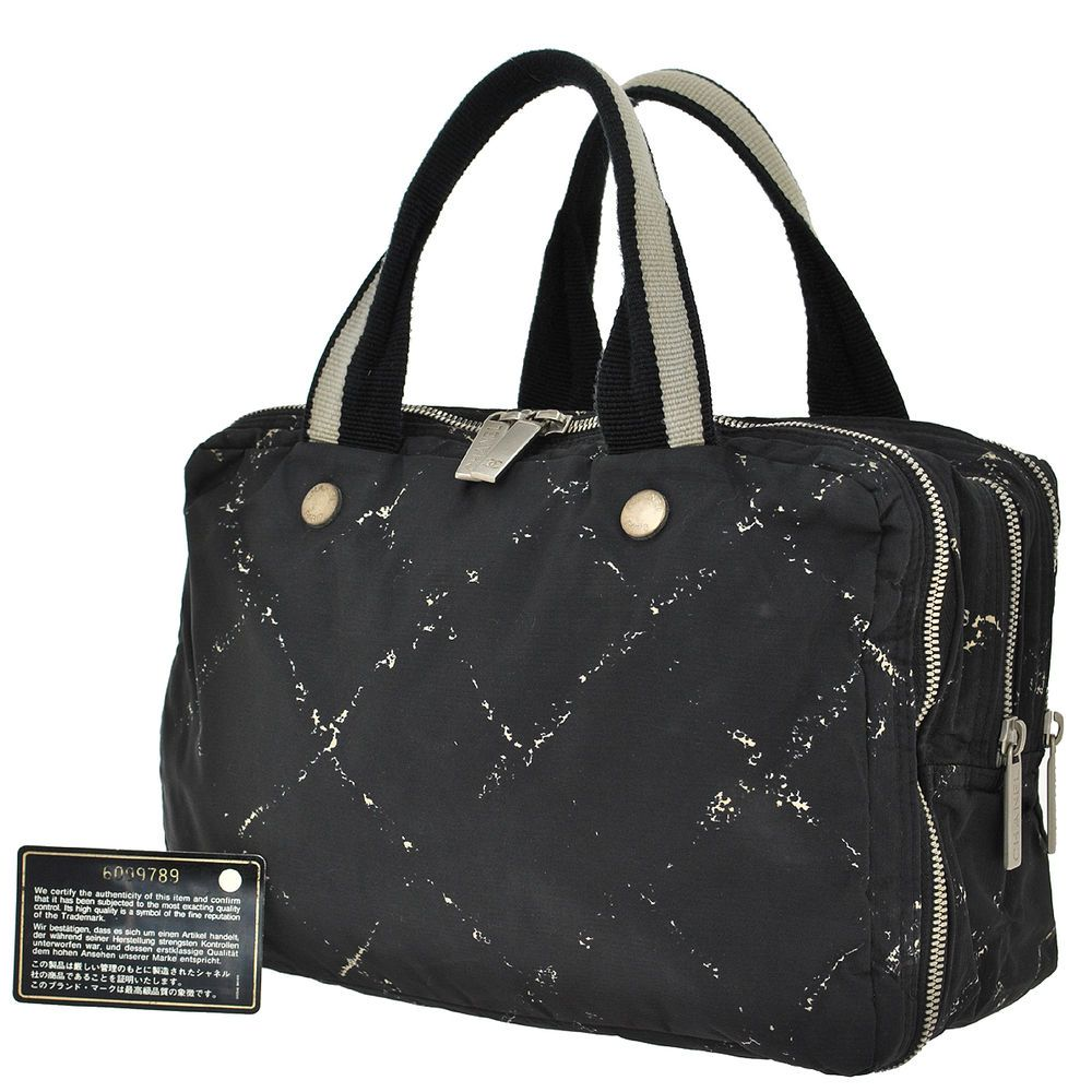 3f840437db2c Auth CHANEL CC Logos Quilted Travel Line Hand Bag Nylon Vintage Black  KA00843 #CHANEL #HandBag