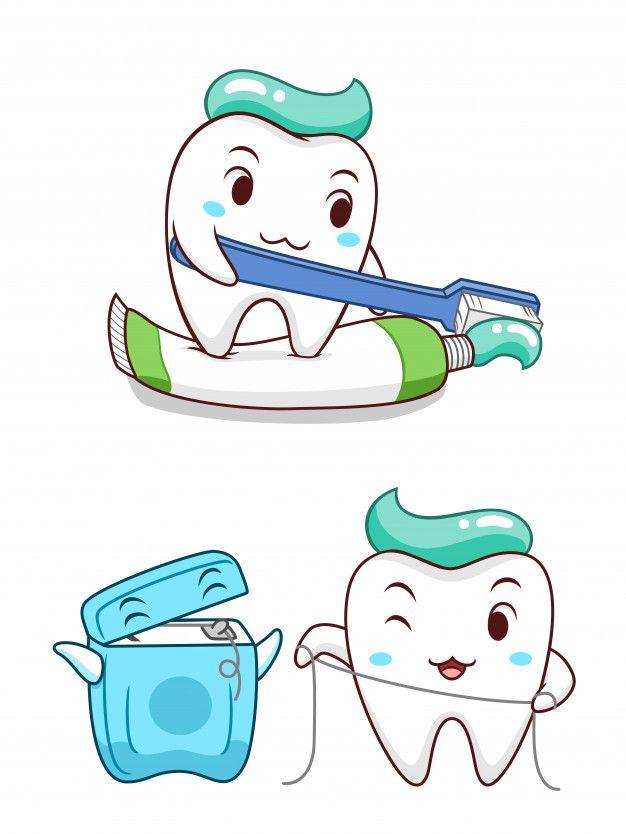 Lindo Diente De Caricatura Apretando La Pasta De Dientes Y Limpiandose Con Hilo Dental Vector Premium Premium Vector Fr Hilo Dental Dental Dientes De Ninos