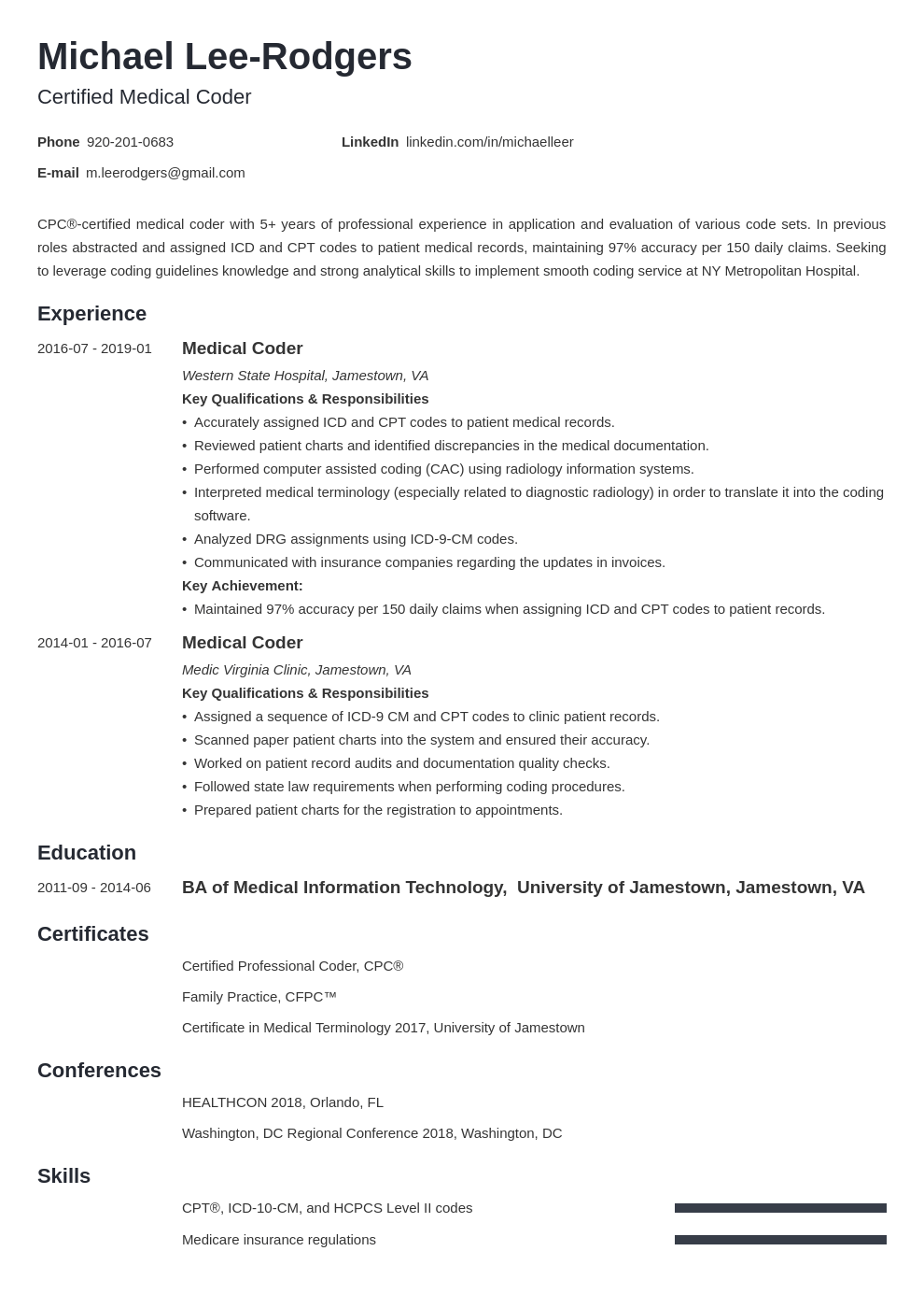 Medical Coder Resume Example Template Minimo Medical Coder Resume Medical Coder Resume Examples