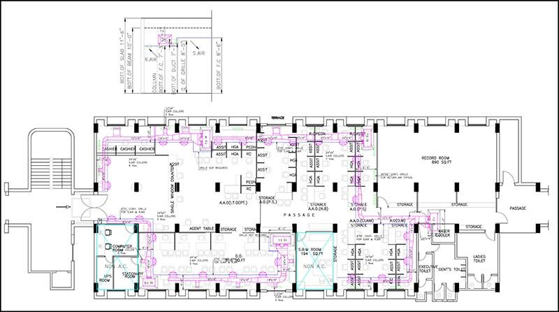 Construction Drawings developed for a HVAC Layout CAD (Computer