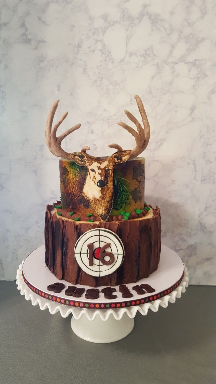 Fine Deer Hunter Birthday Cake With Images Hunting Birthday Cakes Personalised Birthday Cards Veneteletsinfo