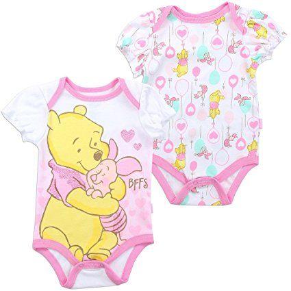 Disney Minnie Minnie Mouse Baby Girls Romper Babygrow Bodysuit 2-PACK Set 0-3m.