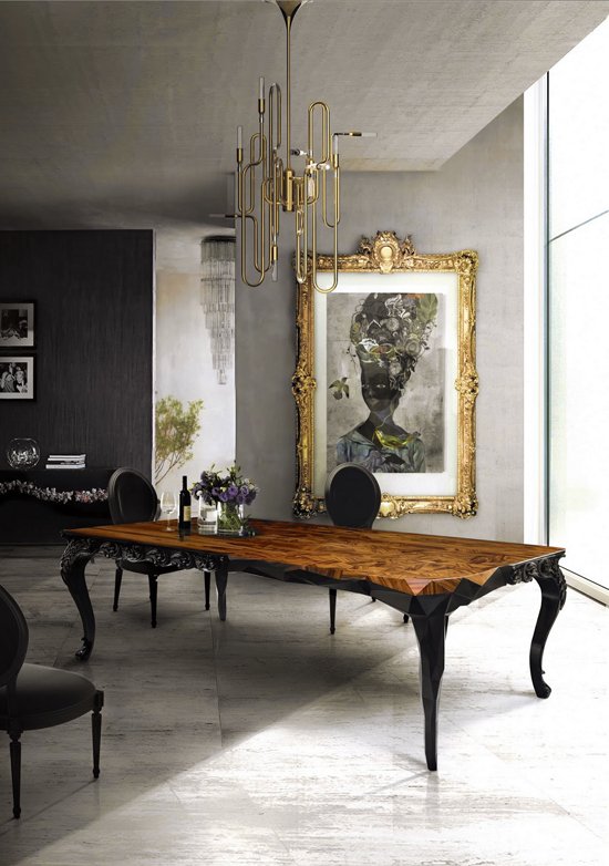 Art With Gold Frame In Dining Room Decor Antique Table Chandelier
