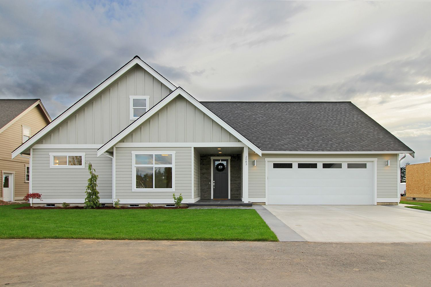 Front Exterior Craftsman Style Home With Gray Hardie
