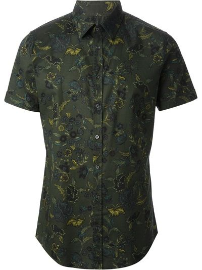 7d61f6c894d0f GUCCI - Camisa floral verde   Style   Shirts, Mens fashion e Printed ...