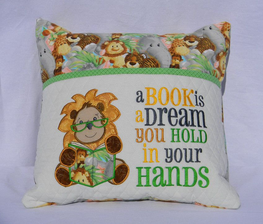 Lion Reading Pillow Pocket Book Gift For Readers Travel Kids Birthday Embroidered Personalized By