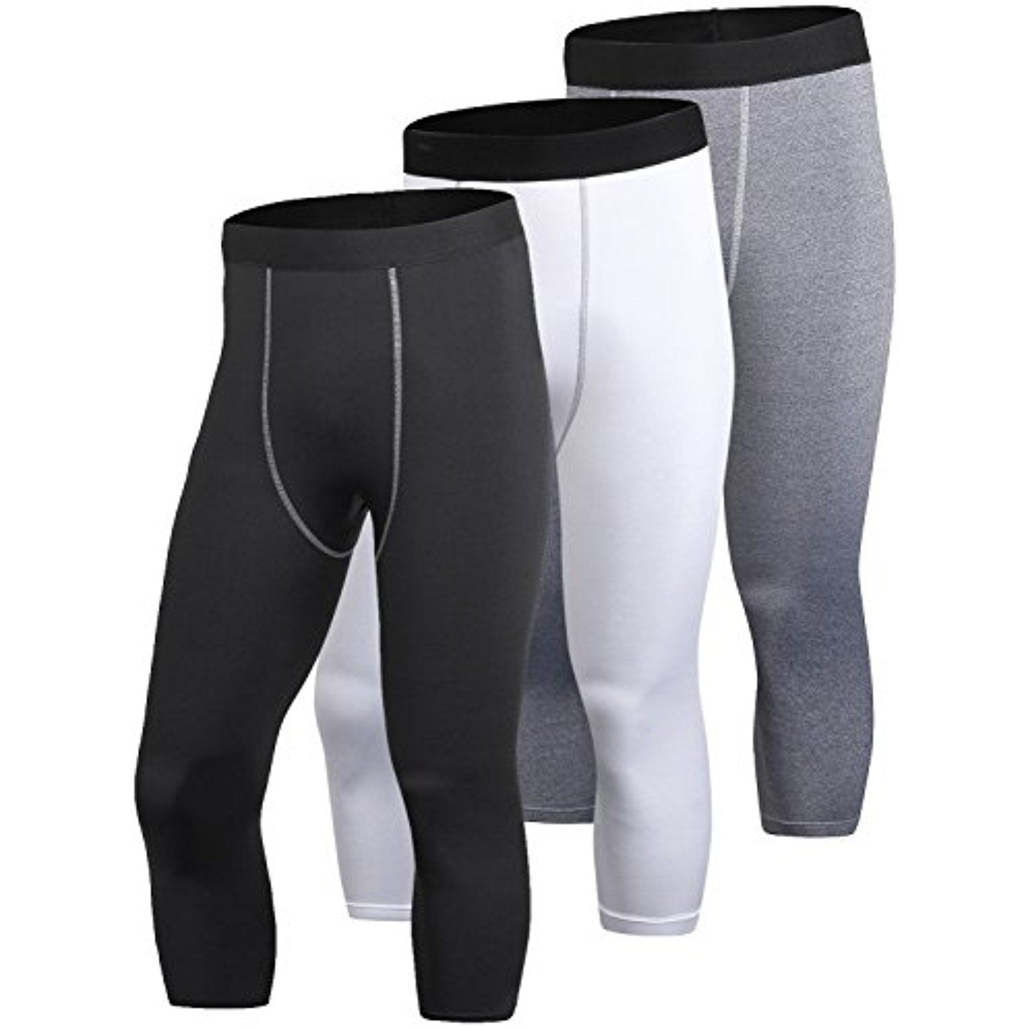 1851ef5fba8a5 Yuerlian Men's 3 Pack Compression 3/4 Capri Shorts Baselayer Cool Dry Sports  Tights >>> Check this awesome product by going to the link at the image.
