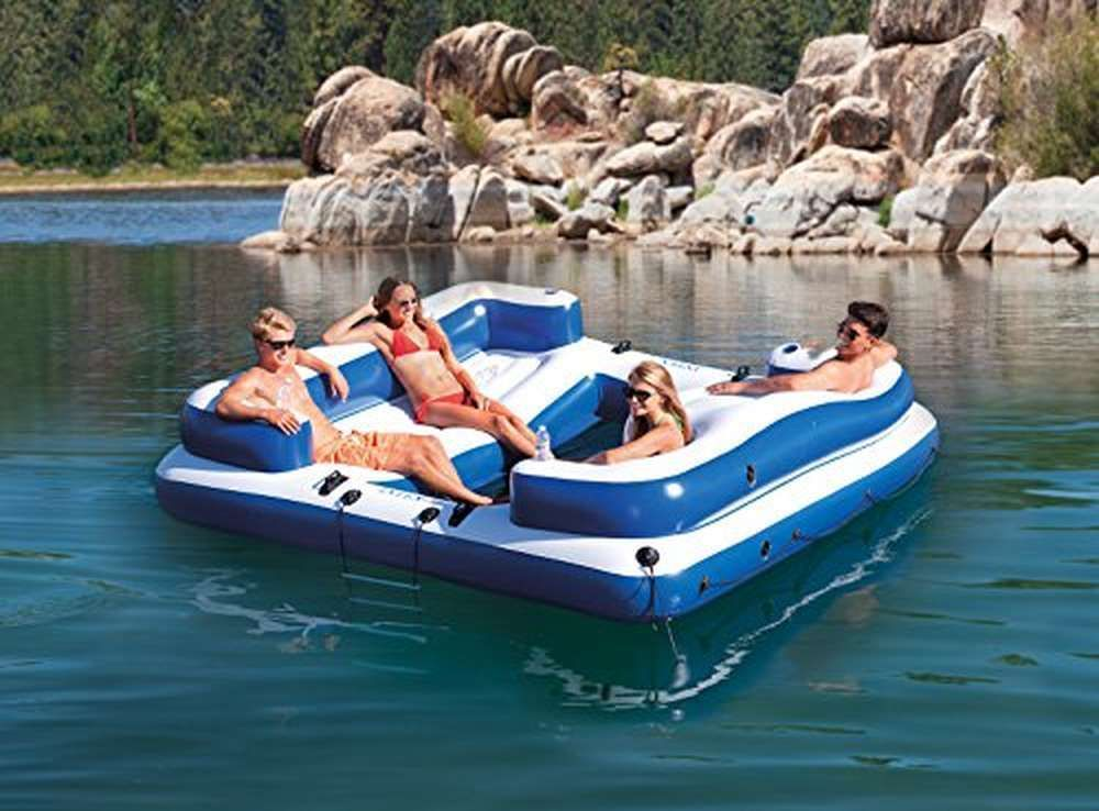 Inflatable Island Seats 4 People With Mesh Floor And Step Ladder By Intex Oasis Inflatable Floating Island Floating Island Raft Inflatable Island