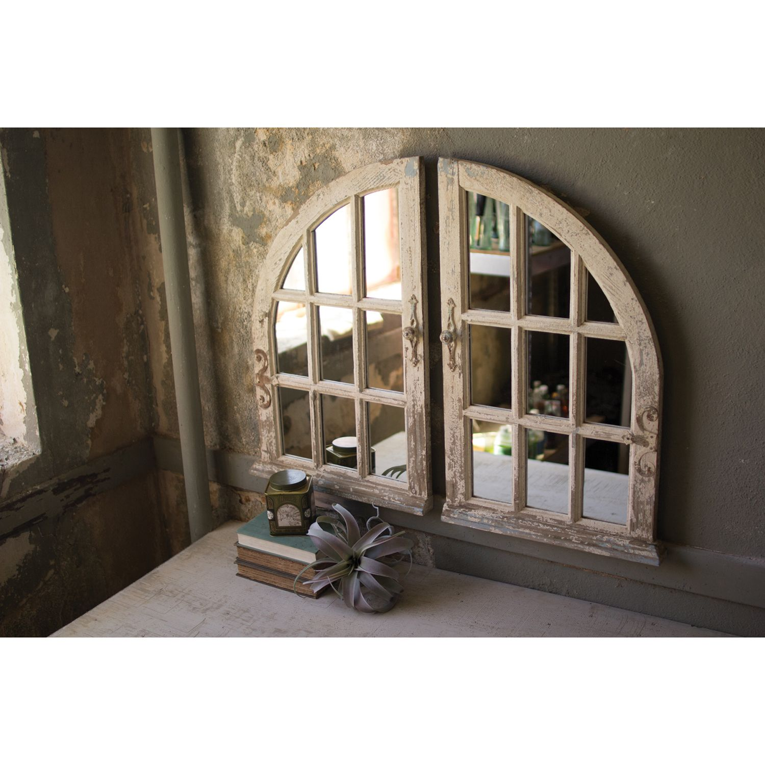 Kalalou Distressed White Arched Window Mirror Set Of Two Ccg1434 Bellacor Arched Window Mirror Rustic Wall Mirrors Mirror Wall Living Room