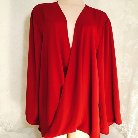 FLASH SALE❤️❤️Red blouse-lightweight material Red blouse-lightweight material.100% polyester. Tag reads 2XL. The back is longer than the front Tops - tunic blouse, floral blouse dress, silk blouse *ad