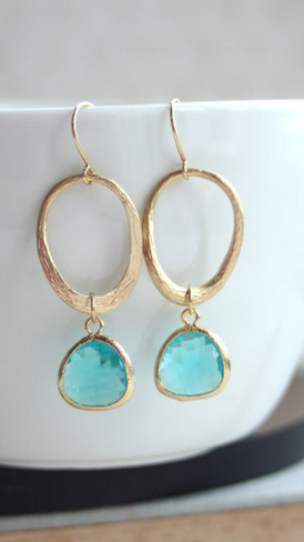 Textured Wavy Oval Loop, Blue Zircon Gold Plated Teardrop Pear Glass Drop…