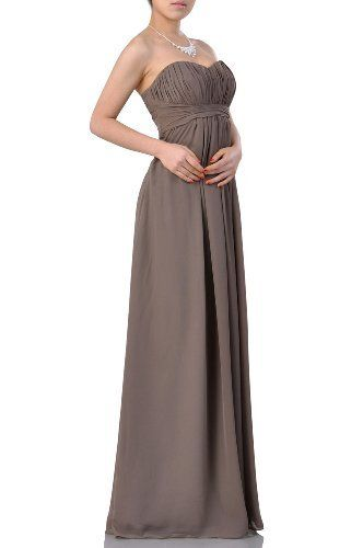 Empire Chiffon Strapless Long A Line Bridesmaid Dresse