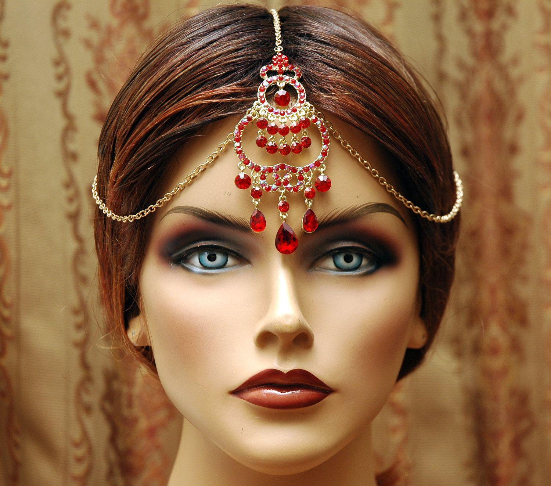 Indian Wedding Headdress: Tikka Hair Chain Headpiece, Red Headpiece, Maang Tikka
