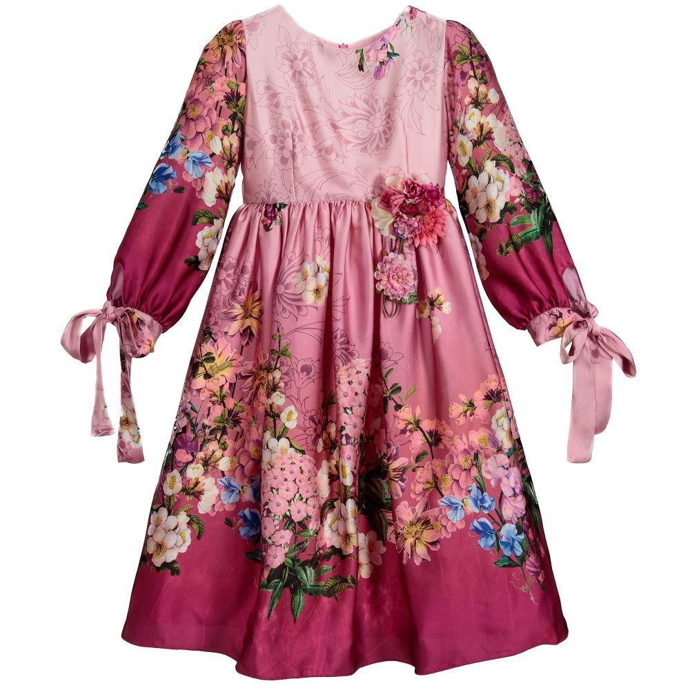 Girls pink floral long dress for girl by lesy