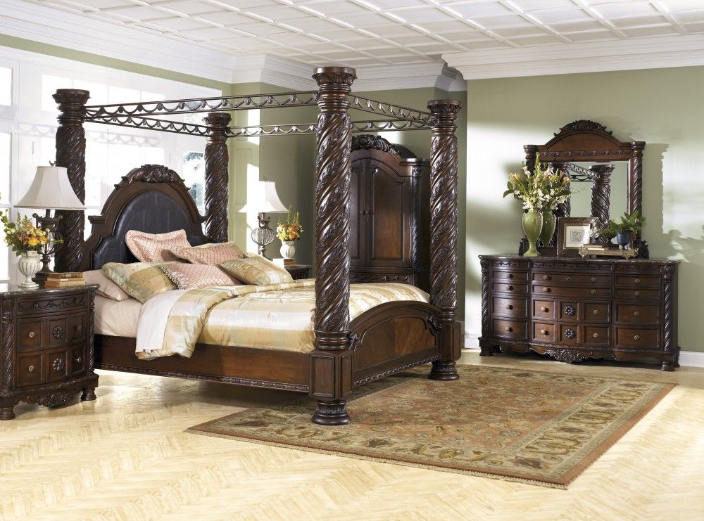 North Shore 7 Pc Bedroom Dresser Mirror King Poster Bed With Canopy B553 131 150 151 162 172 199 36 Canopy Bedroom Sets Luxurious Bedrooms Bedroom Set