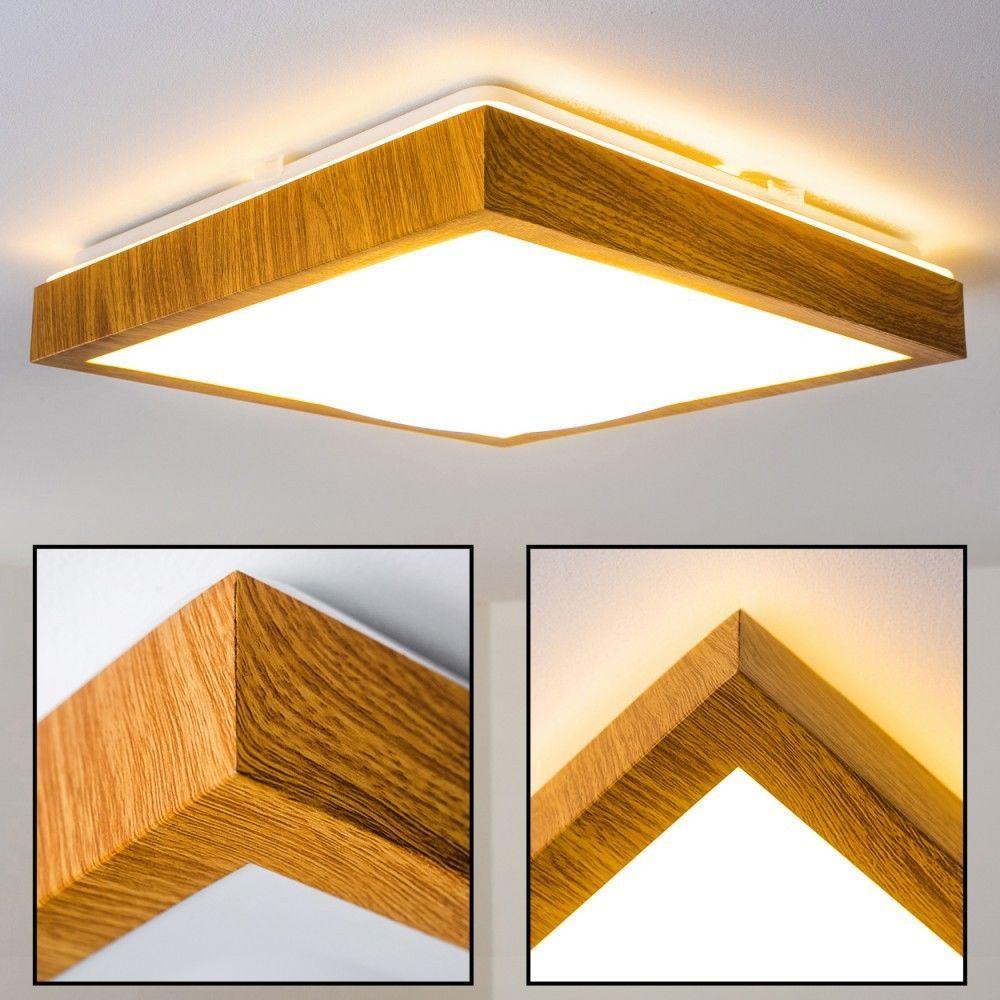 Luxus LED Bad Decken Lampen Holz Optik Design Flur Wohn Schlaf Zimmer Leuchten