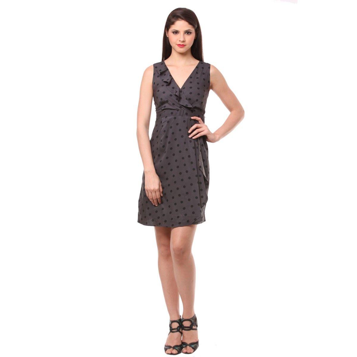Crepe Dark Grey Polka Dot Print Wrap Dress - EF01090