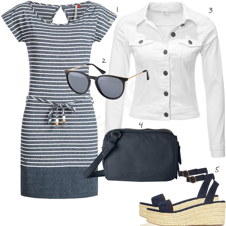 Blau Weißer Damen Look mit Kleid und Jeansjacke | Kleid und