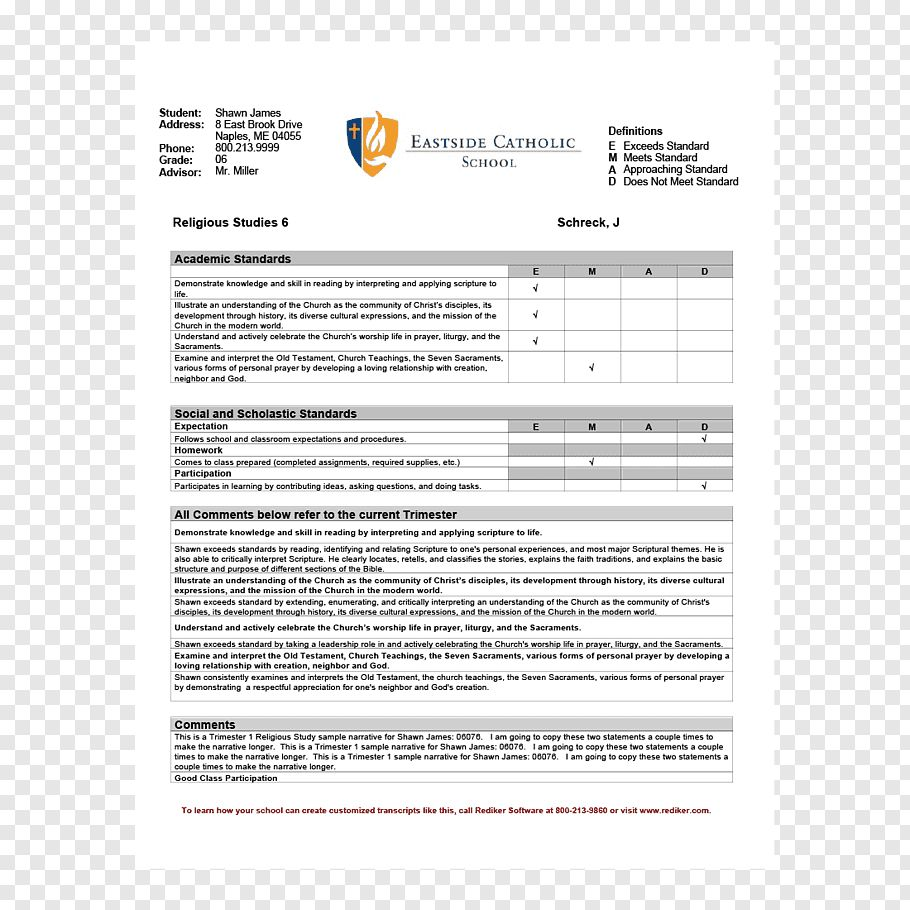 Report Card Middle School Template National Secondary School