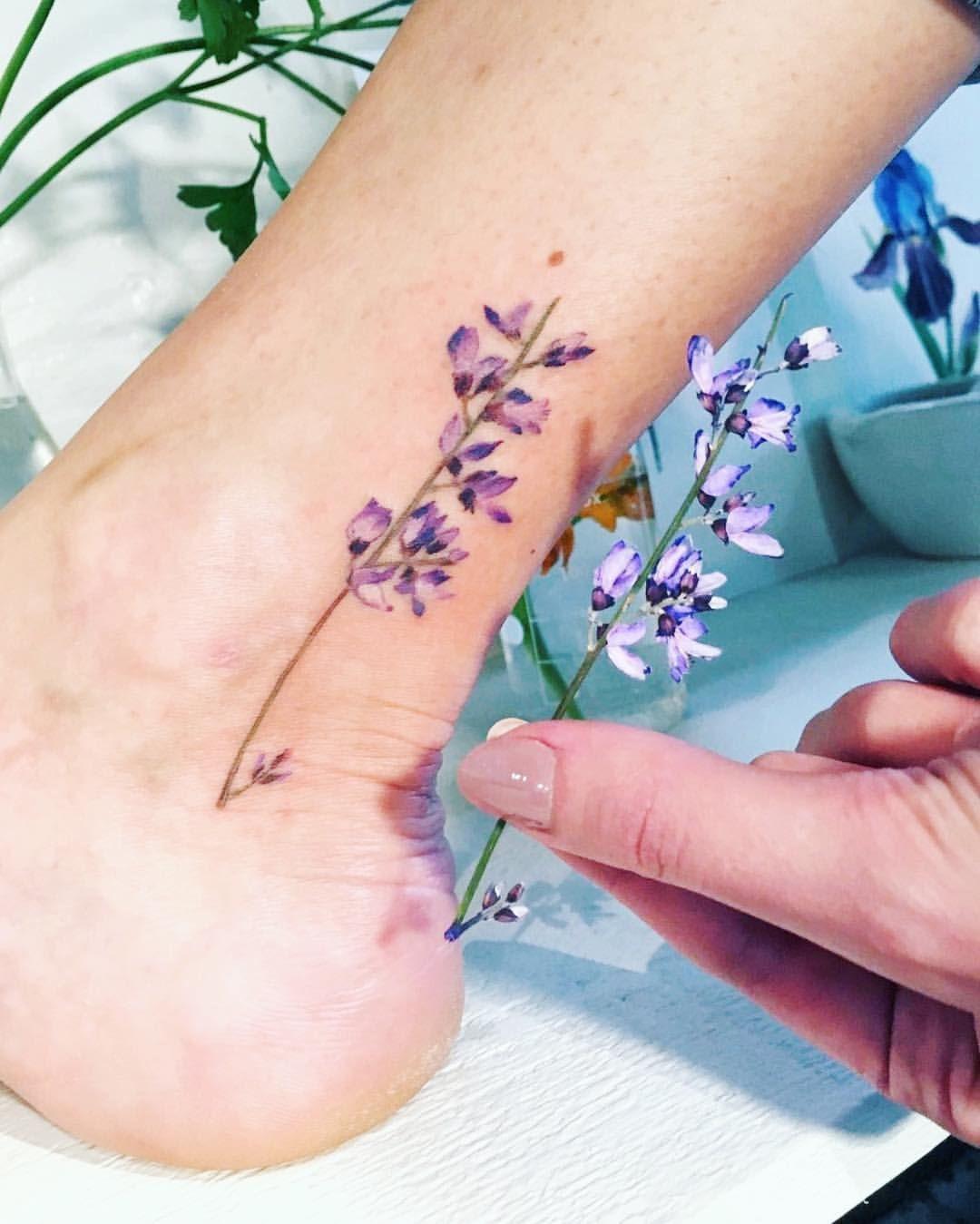 Tattoo Purple Lavanda Art Flower Realistic Flower Tattoo Simple Flower Tattoo Ankle Tattoo Designs