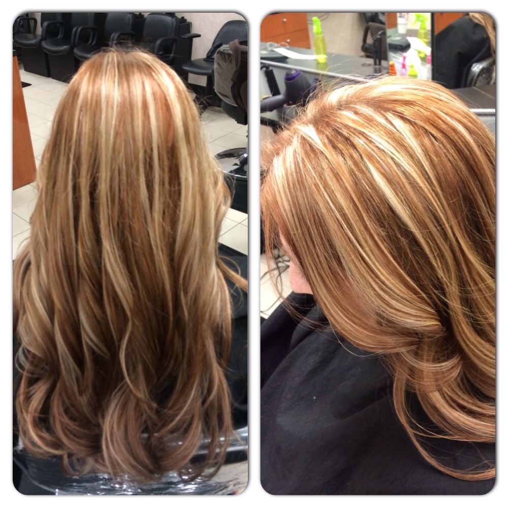 7RB all over color in matrix and blonde highlights | Hair color ...