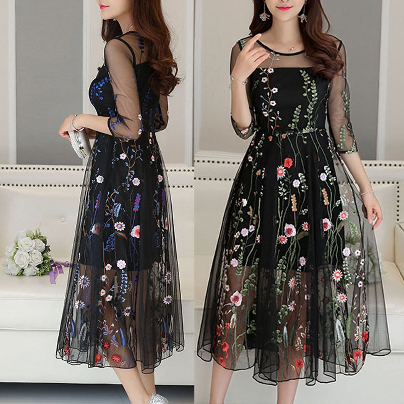 Long floral dress for wedding   Women Mesh Embroidery Floral Evening Party Wedding Cocktail