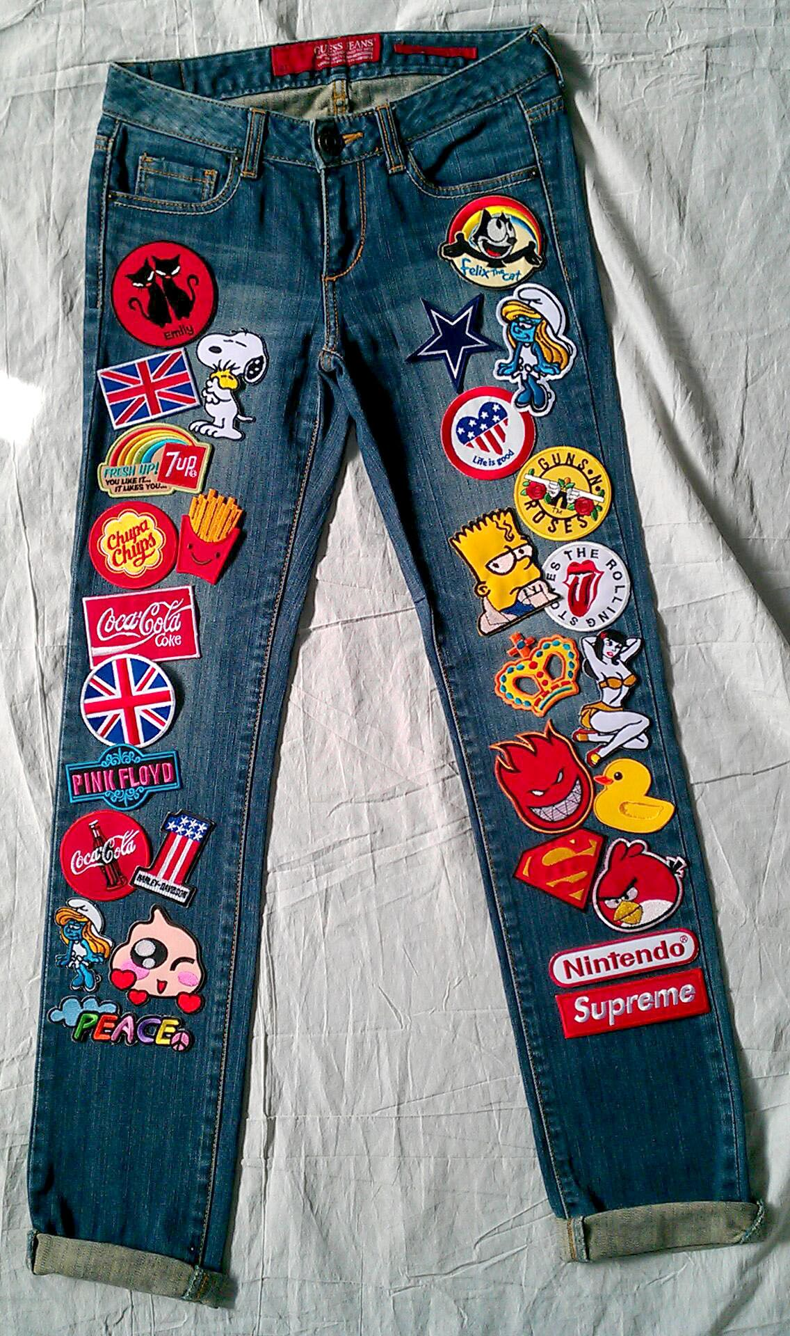 Reworked Vintage Jeans With Patches Women 28 Waist By