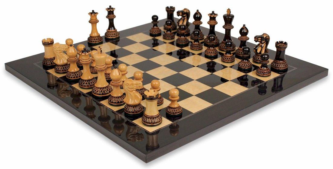 Parker chess set burnt boxwood black ash burl board - Chess nice image ...