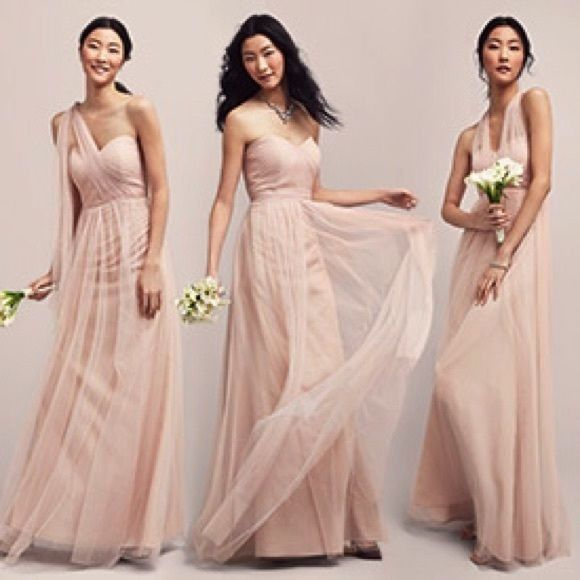 Jenny Yoo Annabelle Convertible Tulle Bridesmaid Dress Anthropologie Bhldn Pink Jennyyoo Column Formal