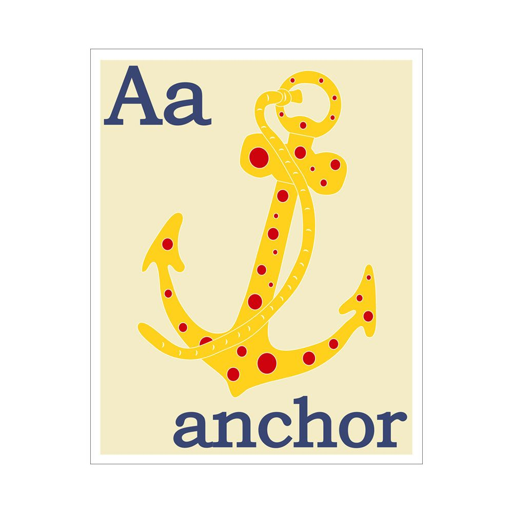 Children\'s Wall Art / Nursery Decor A is for Anchor by KZukowski ...