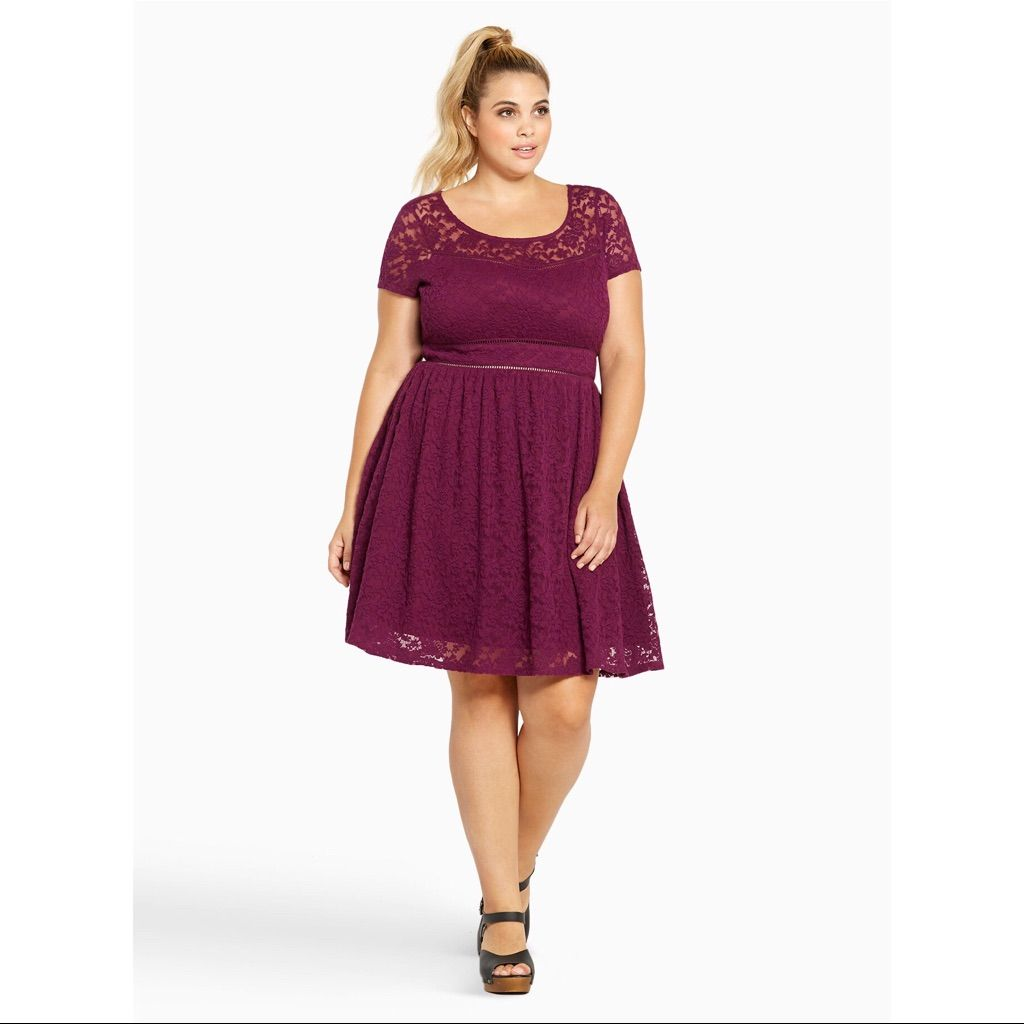 Lace dress torrid  Black Lace Scoop Skater Dress  Black laces and Products