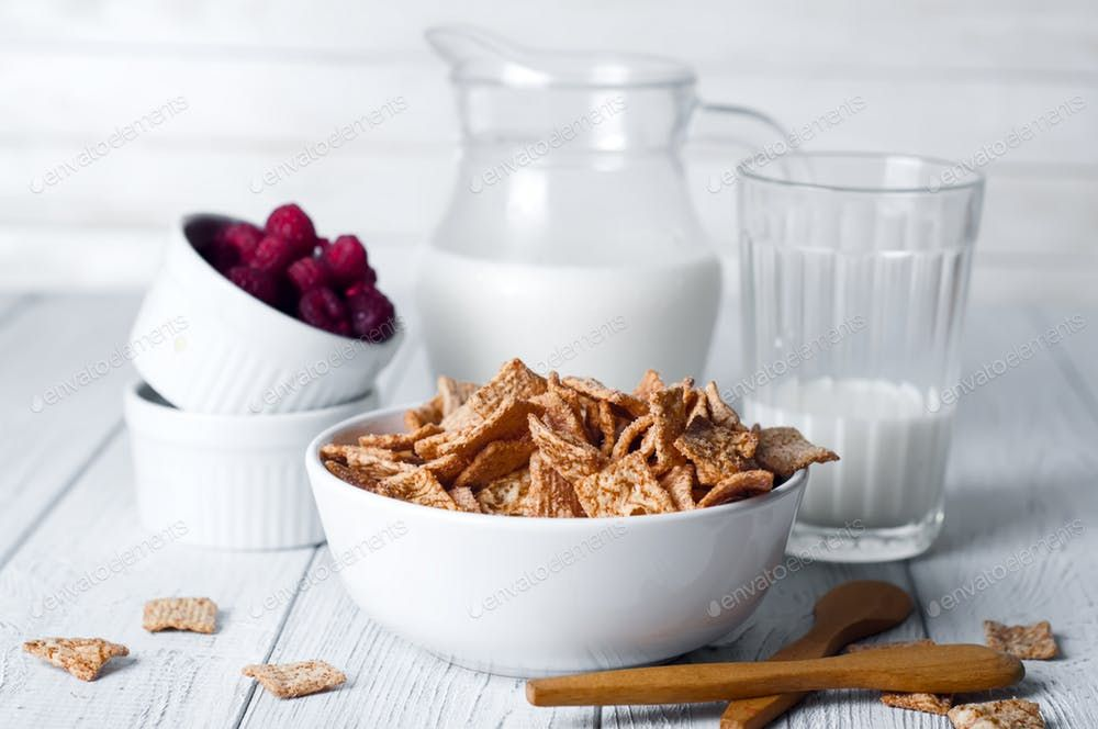 Breakfast Cereal And A Glass Of Fresh Milk Photo By Lyulkamazur On Envato Elements In 2020 Cereal Recipes Fresh Milk Breakfast